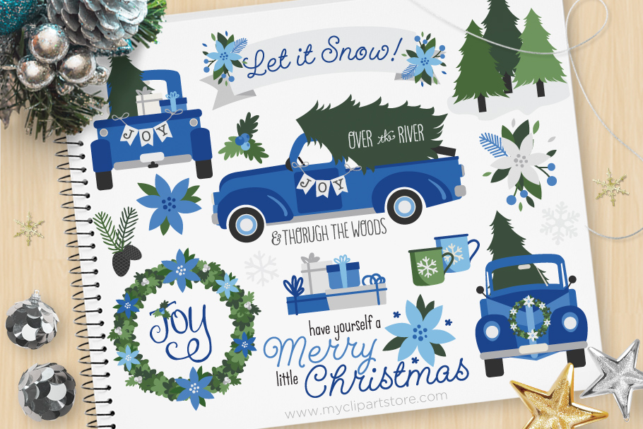 Vintage Navy Christmas Truck Clipart - Vector Clip Art & SVG example image 1