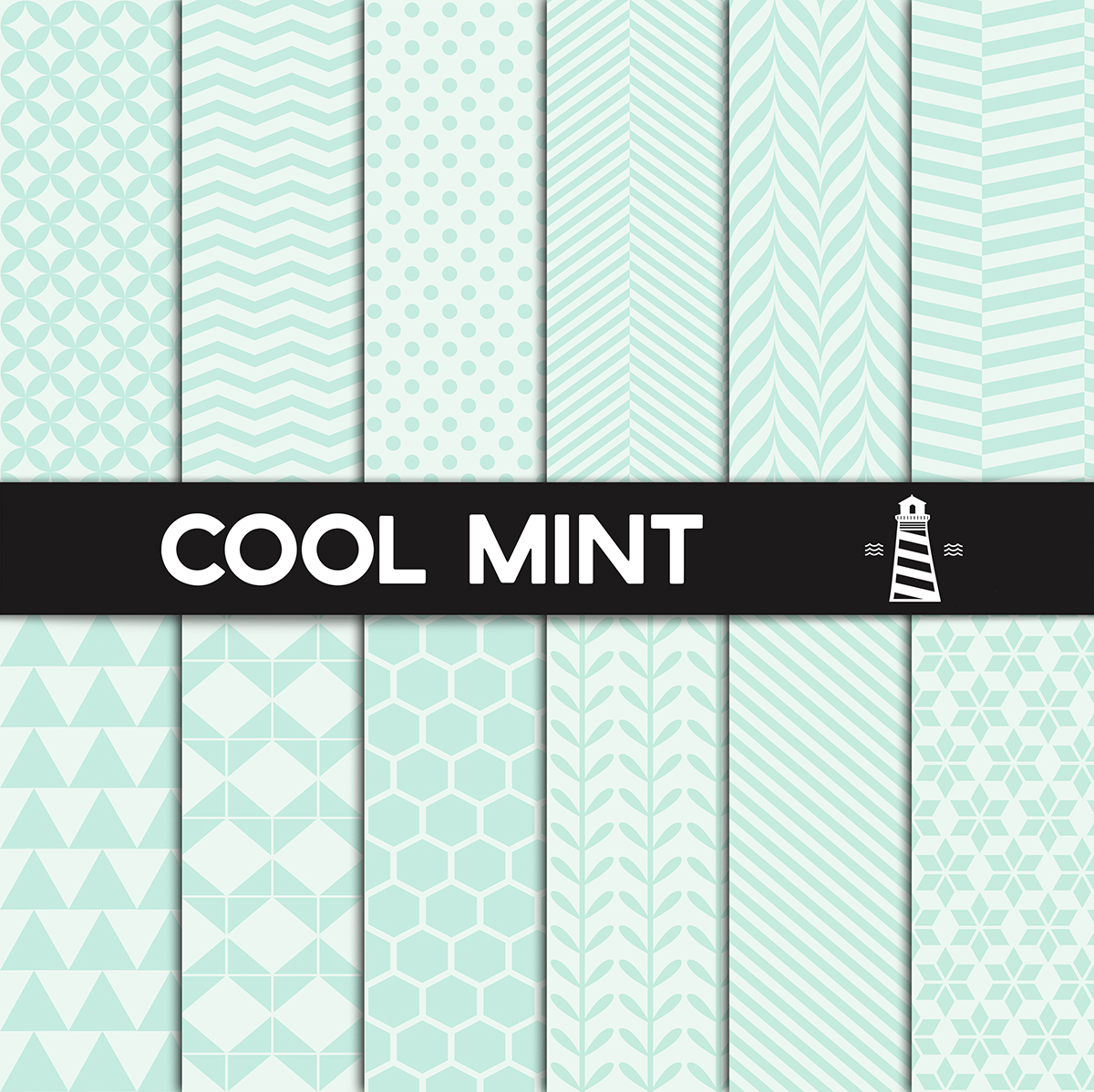 Cool Mint Patterns - Digital Paper example image 1