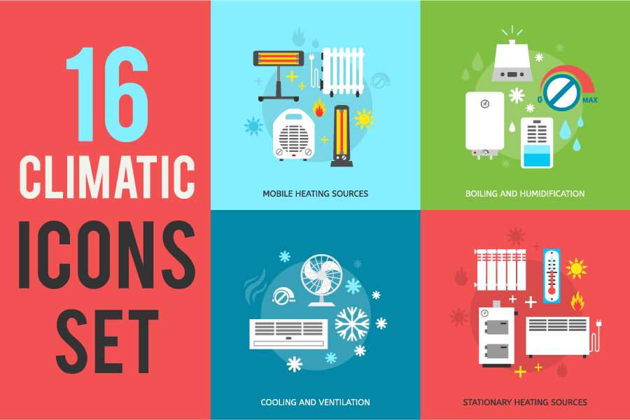 16 Climatic Heating Icons Set example image 3