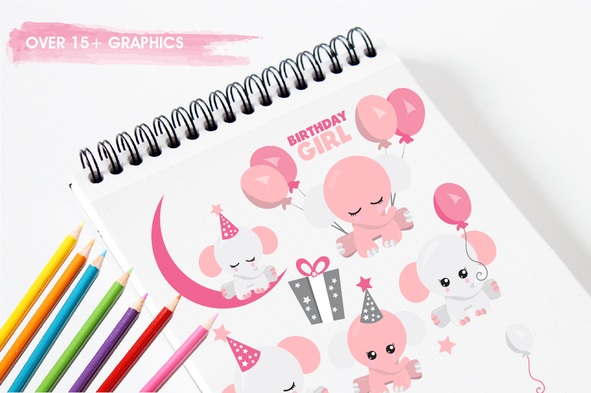 Baby girl Elephant graphics and illustrations example image 3