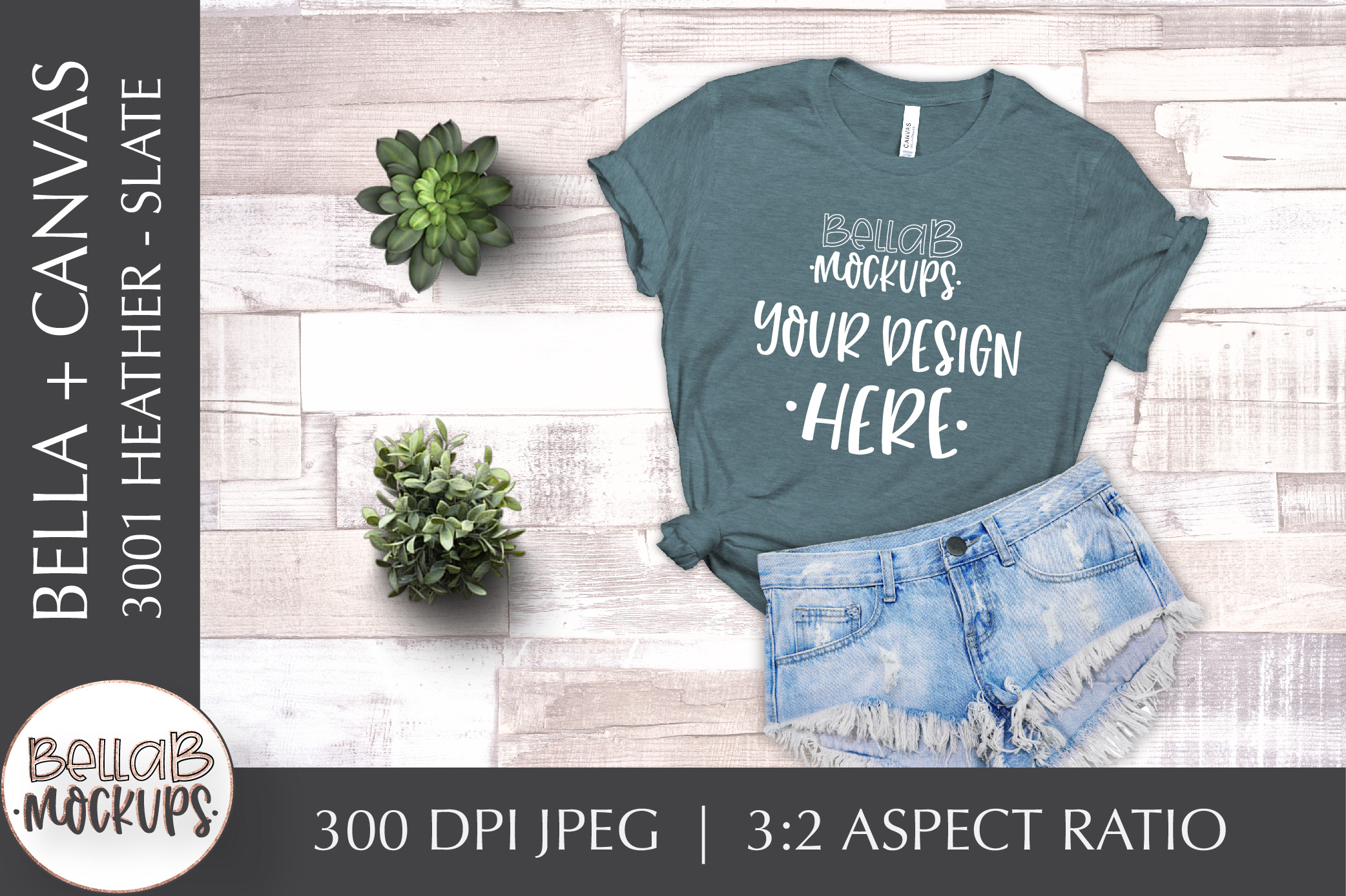 Bella Canvas 3001 Heather Woman's T Shirt Mockup, Slate example image 1