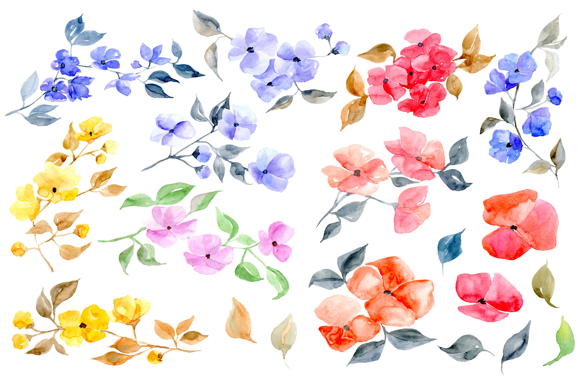 Watercolor colorful flower branches example image 2