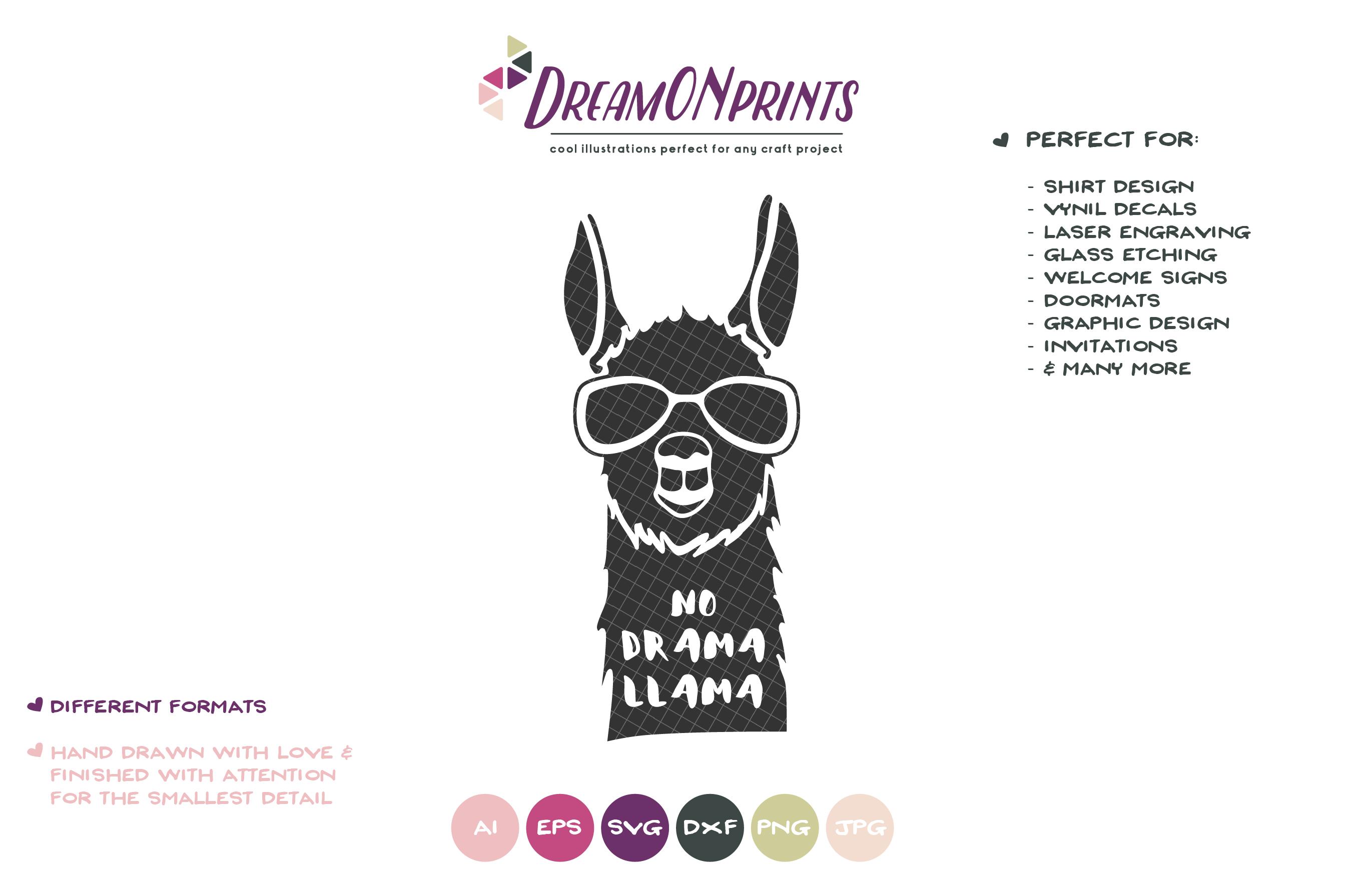 No Drama Llama | Funny Llama SVG Cut Files example image 2