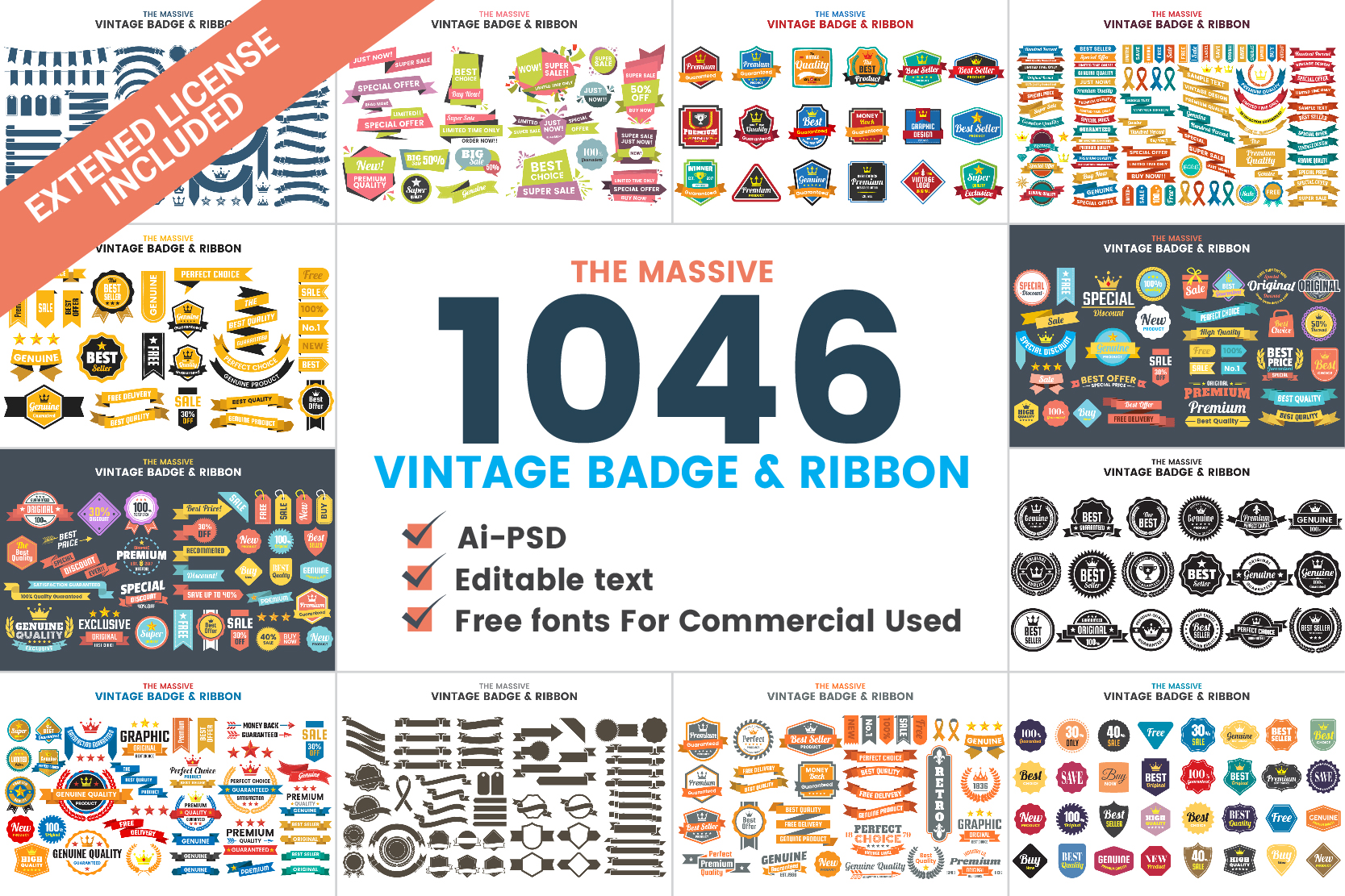 1046 VINTAGE BADGE & RIBBON example image 1