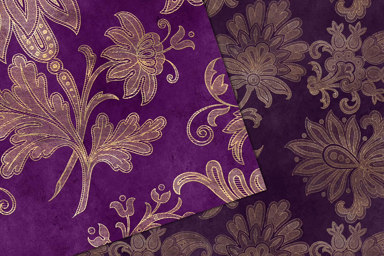 Purple Floral Velvet Digital Paper example image 4