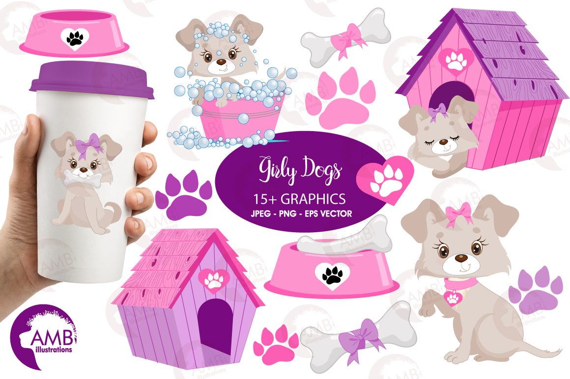 Girly dog clipart, graphics, illustrations AMB-1924 example image 1