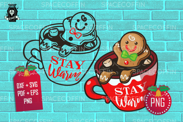 Gingerbread Cookie in a mug silhouette and clipart example image 1