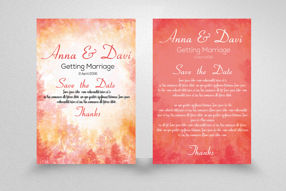 5 Double sided Save the Date Invitation Cards Bundle example image 3