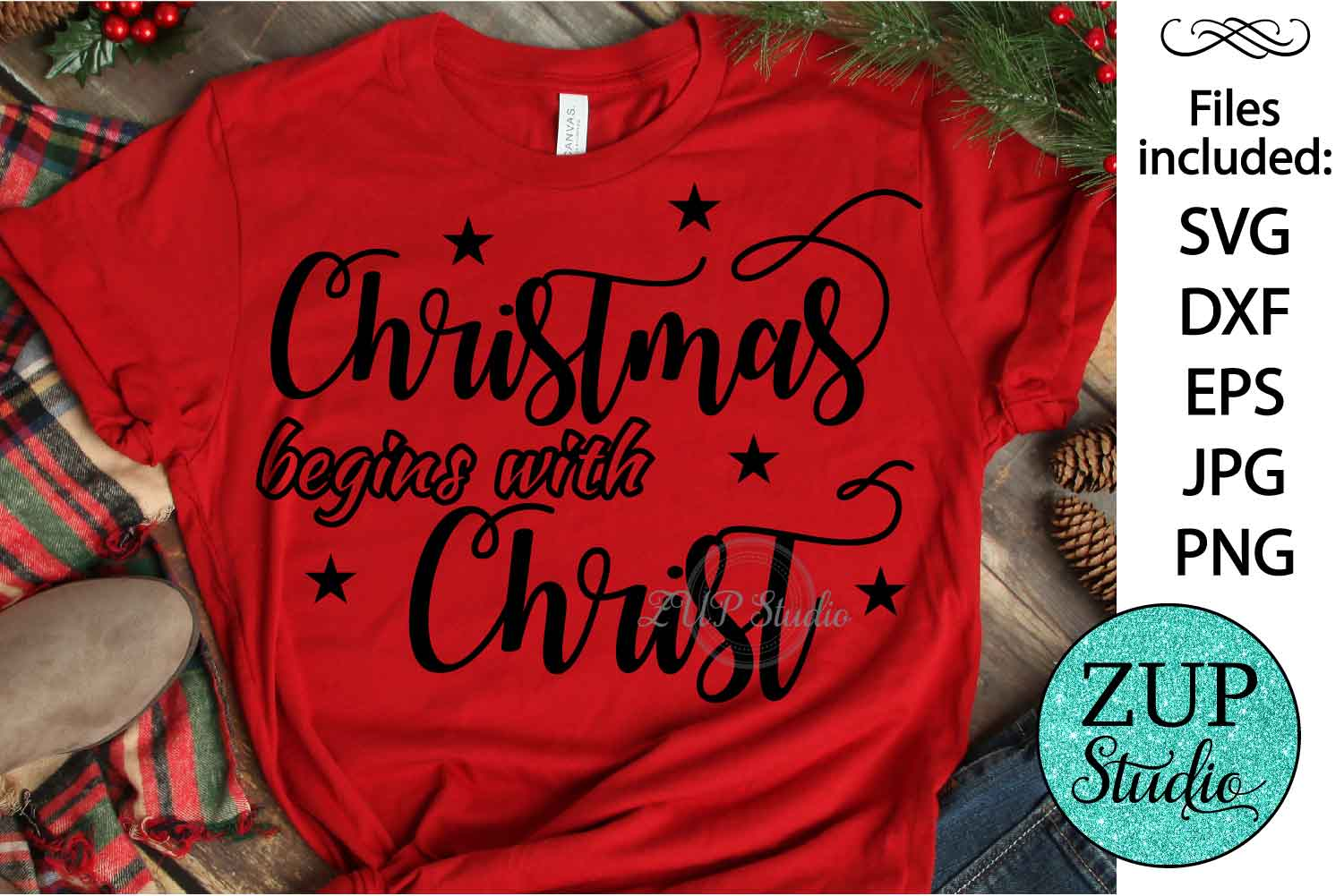 Christmas begins with Christ cutting files svg 29 example image 1