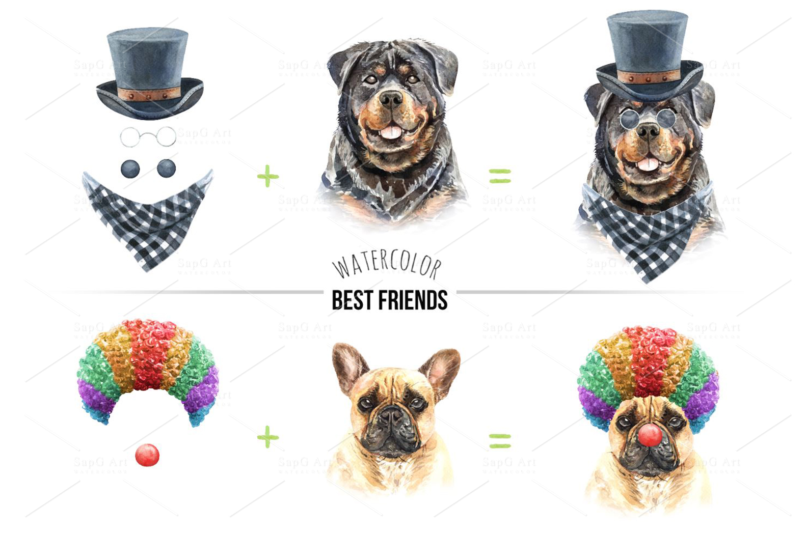 Dogs and accessories watercolor clipart, Pets clip arts SetB example image 4