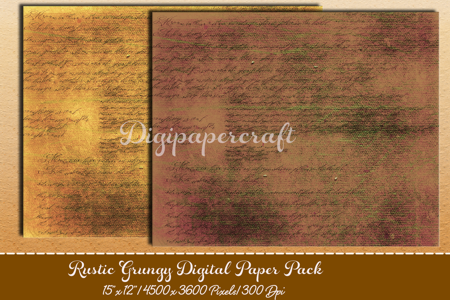 Old rustic digital paper. Grungy paper pack example image 4