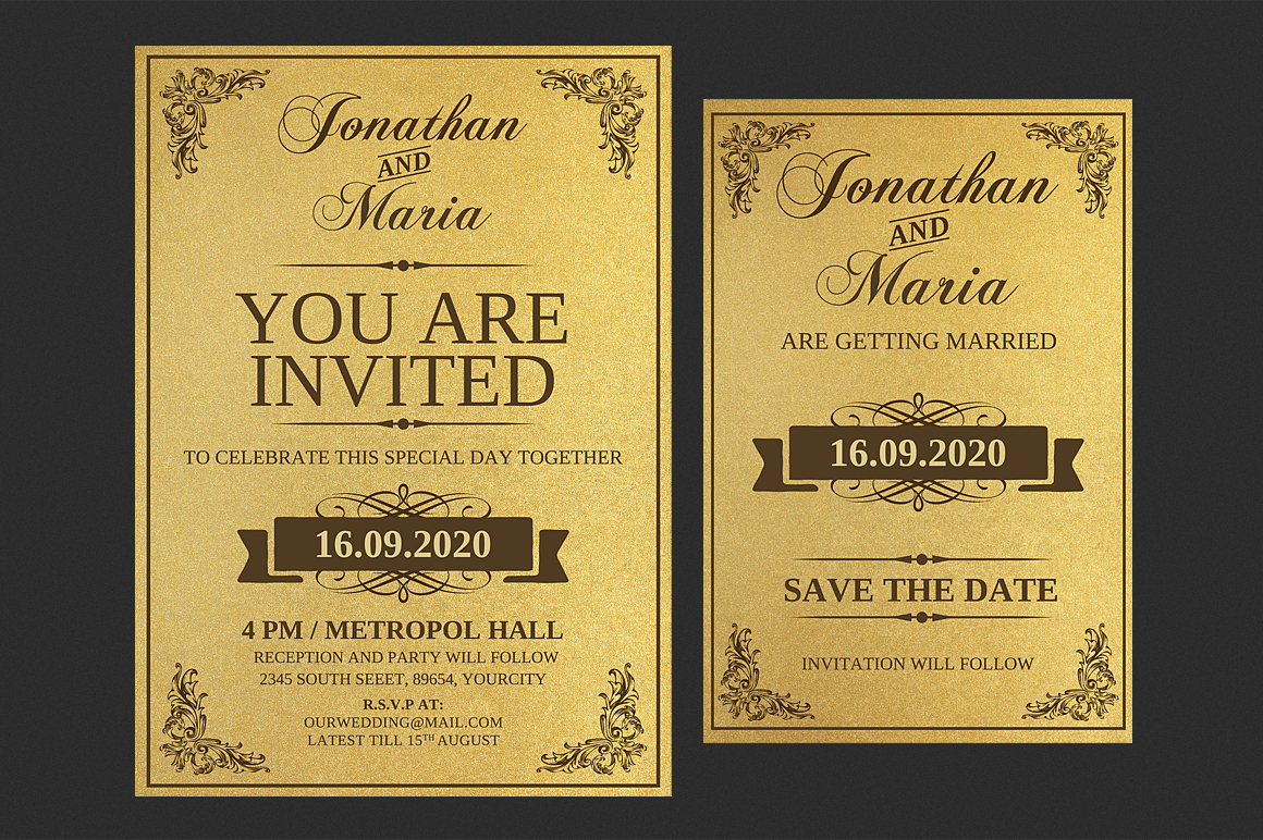 Gold Wedding Invitation Set example image 2
