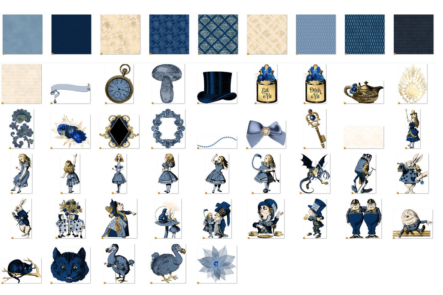 Navy Blue and Gold Alice in Wonderland Graphics example image 5