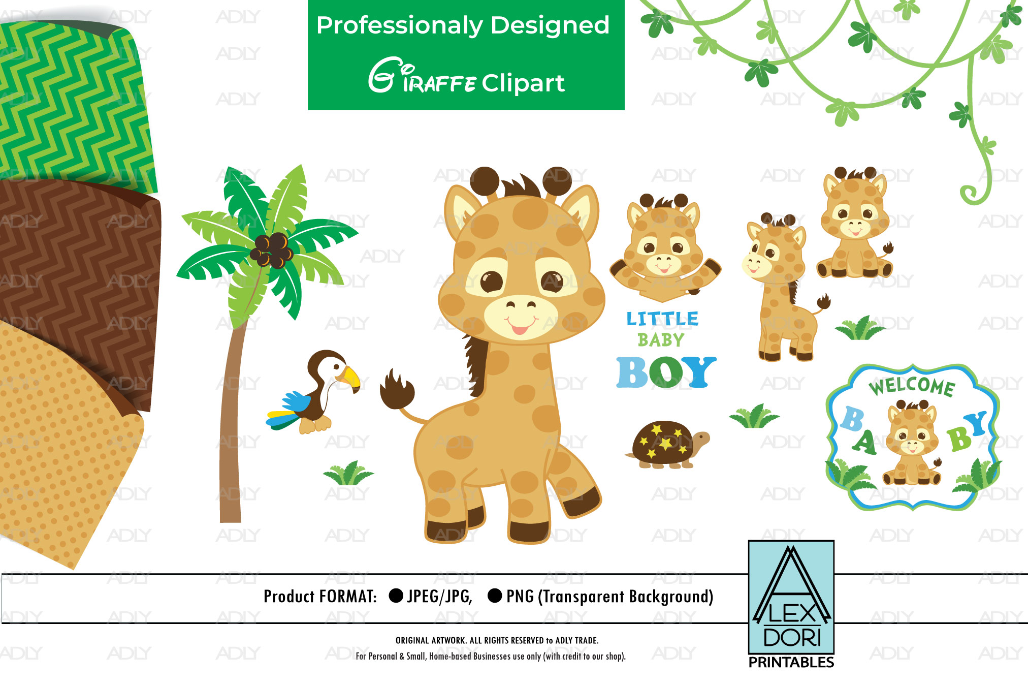 Giraffe PNG, Baby Boy Party, Animal PNG, Clipart example image 1