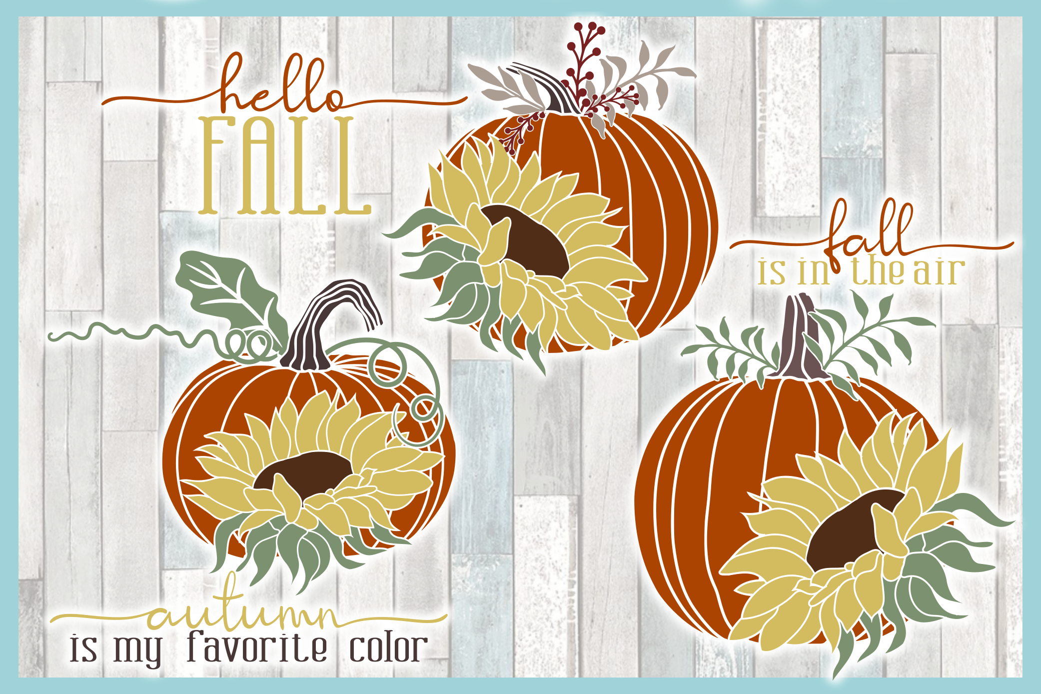 Autumn Fall Quotes Pumpkins And Sunflowers Mini SVG Bundle example image 8