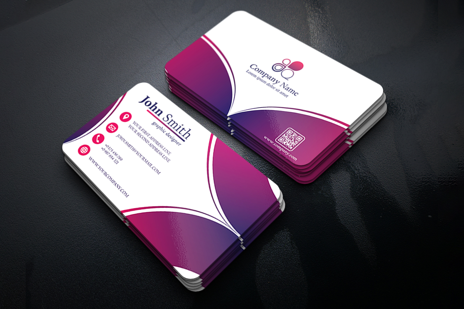 Abstract Business Card Design with 2 different colors example image 1