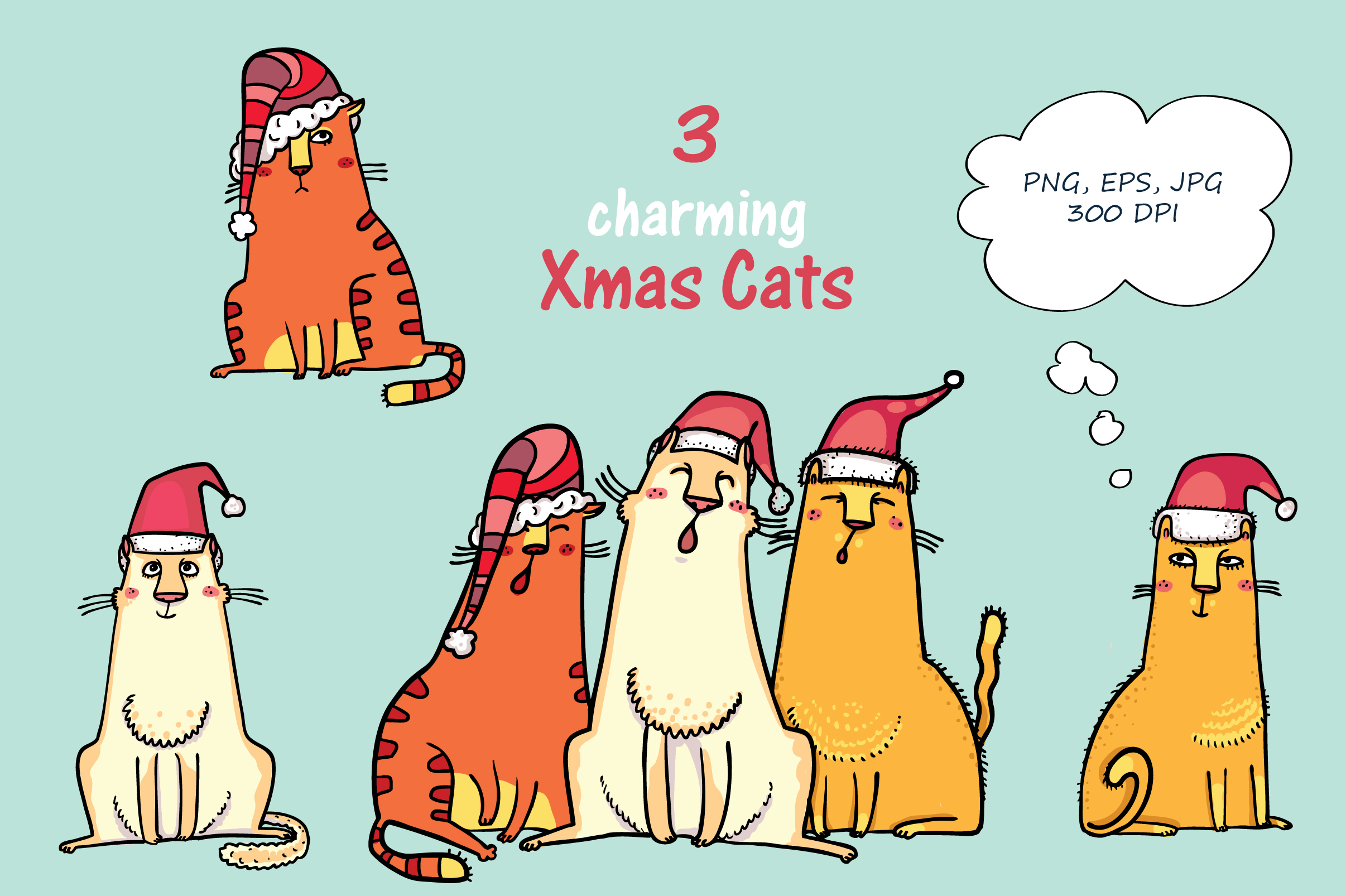 Xmas Cats clip-art, patterns, cards example image 2