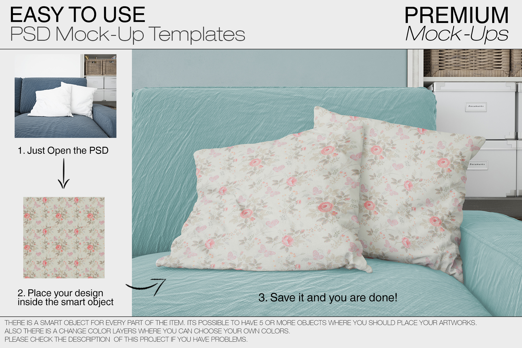 Pillows & Frames Mockup Set example image 9