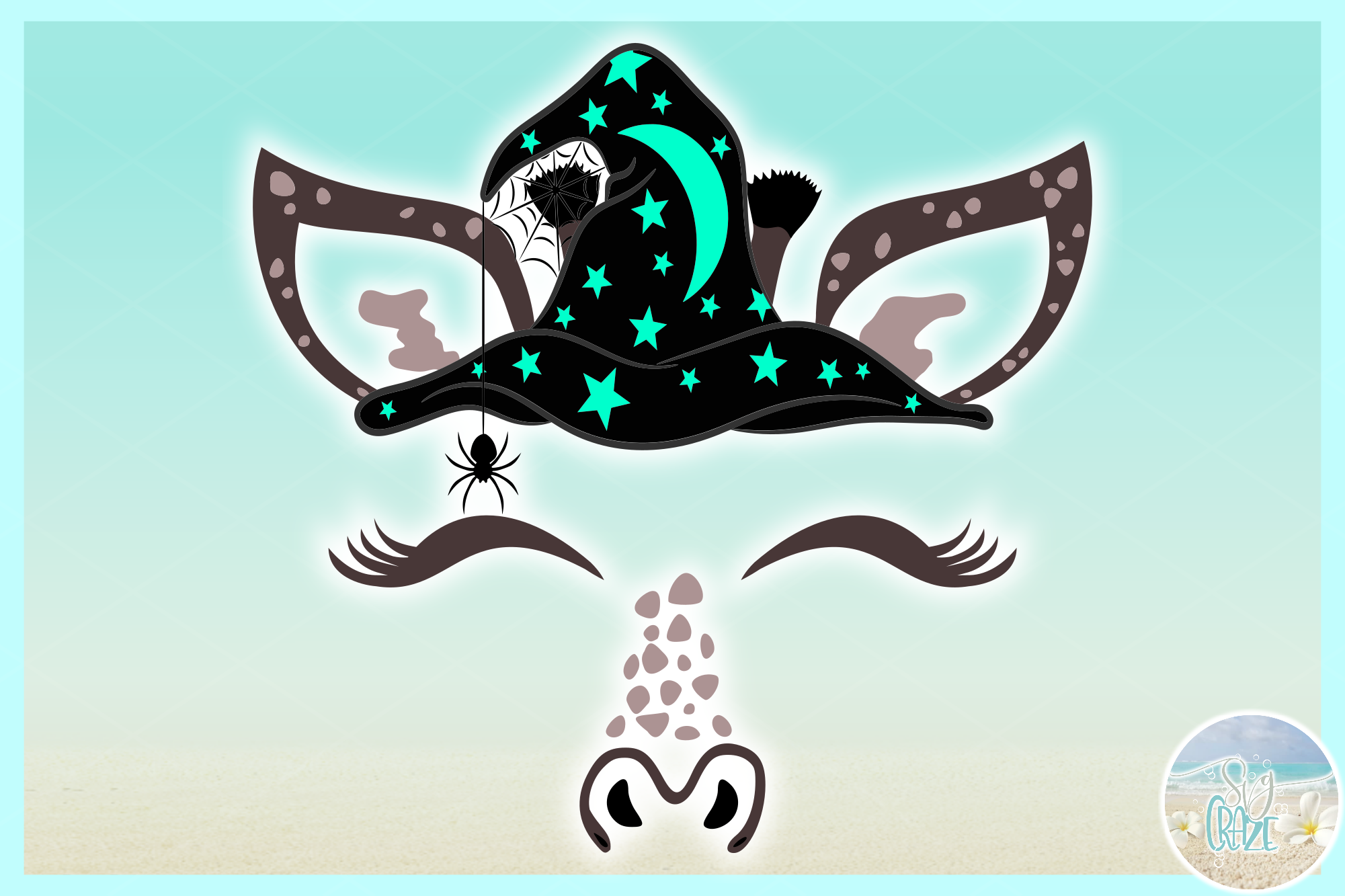 Giraffe Face With Witch Hat SVG Dxf Eps Png PDF