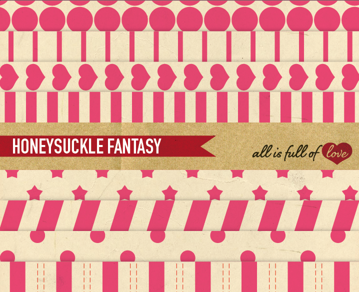 Vintage Background Patterns in Pink Digital Paper Pack with Stripes, Dots, Stars and Hearts example image 1