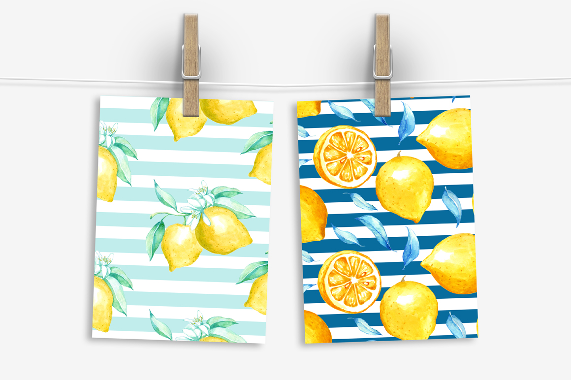 Watercolor lemon set example image 6