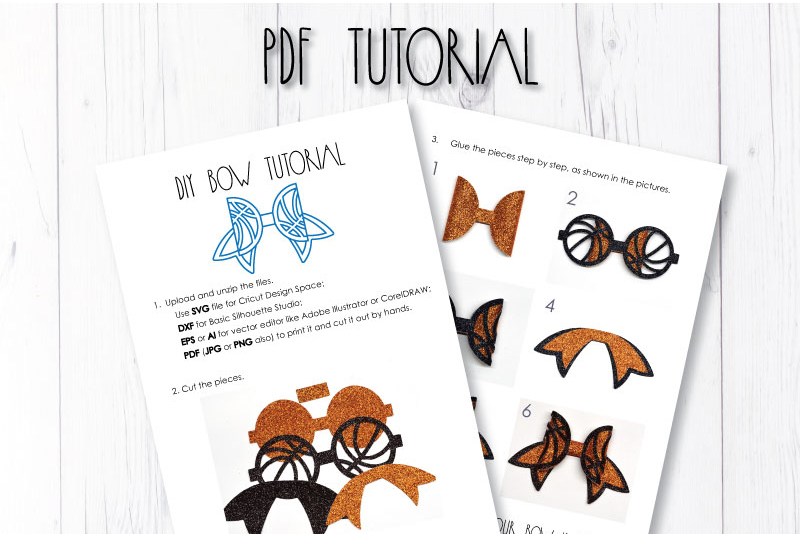 Basketball Hair bow template SVG, DIY leather bow template example image 3