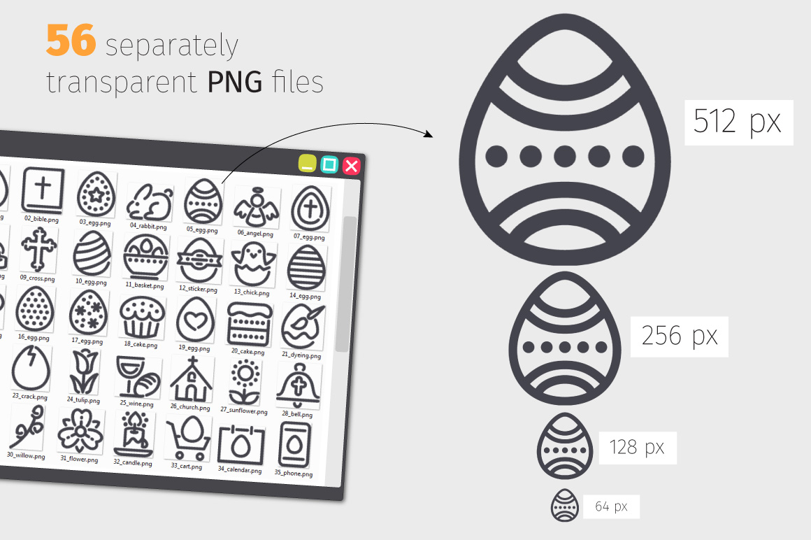 Easter Line Icons Set example image 3