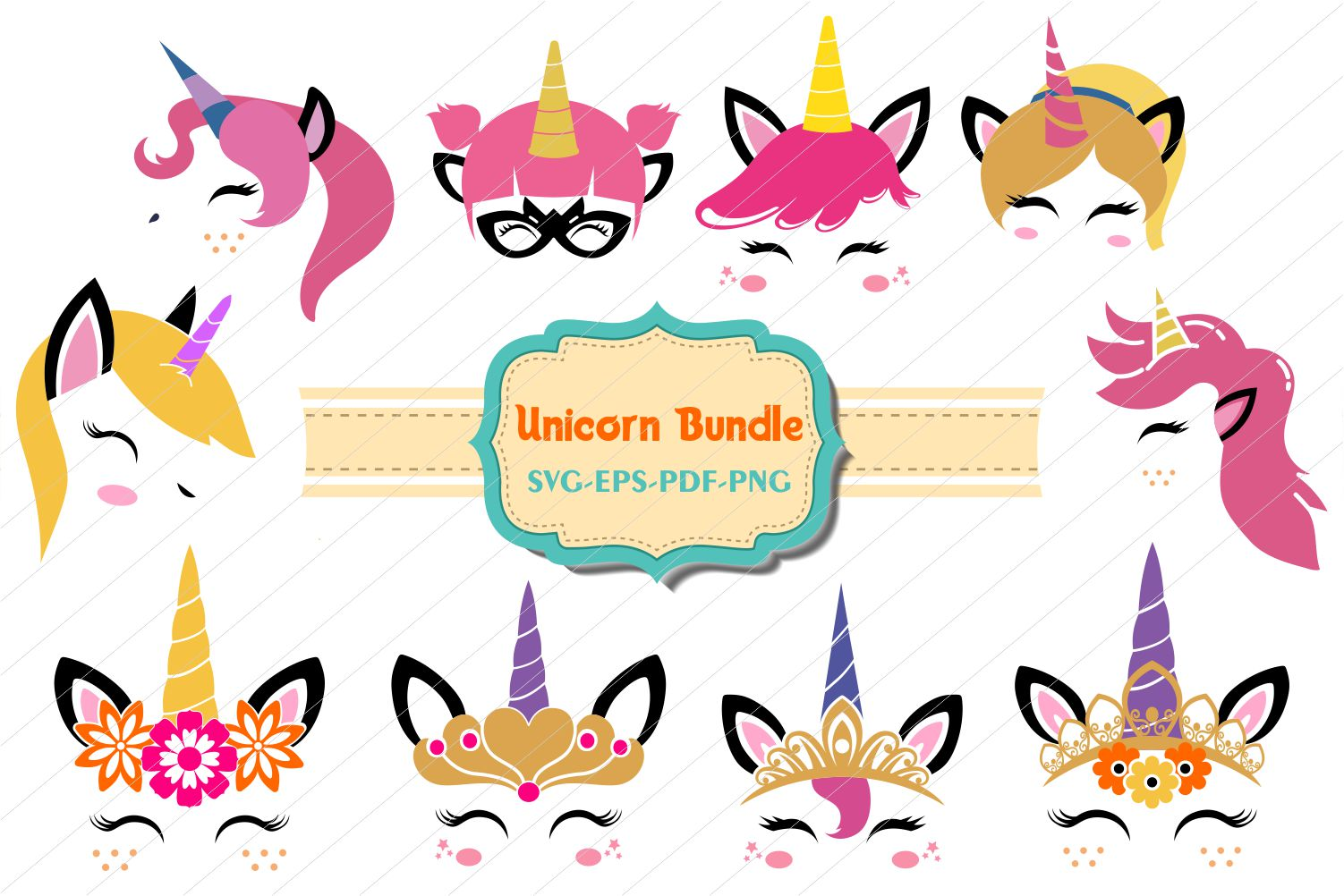 Unicorn Faces SVG Bundle
