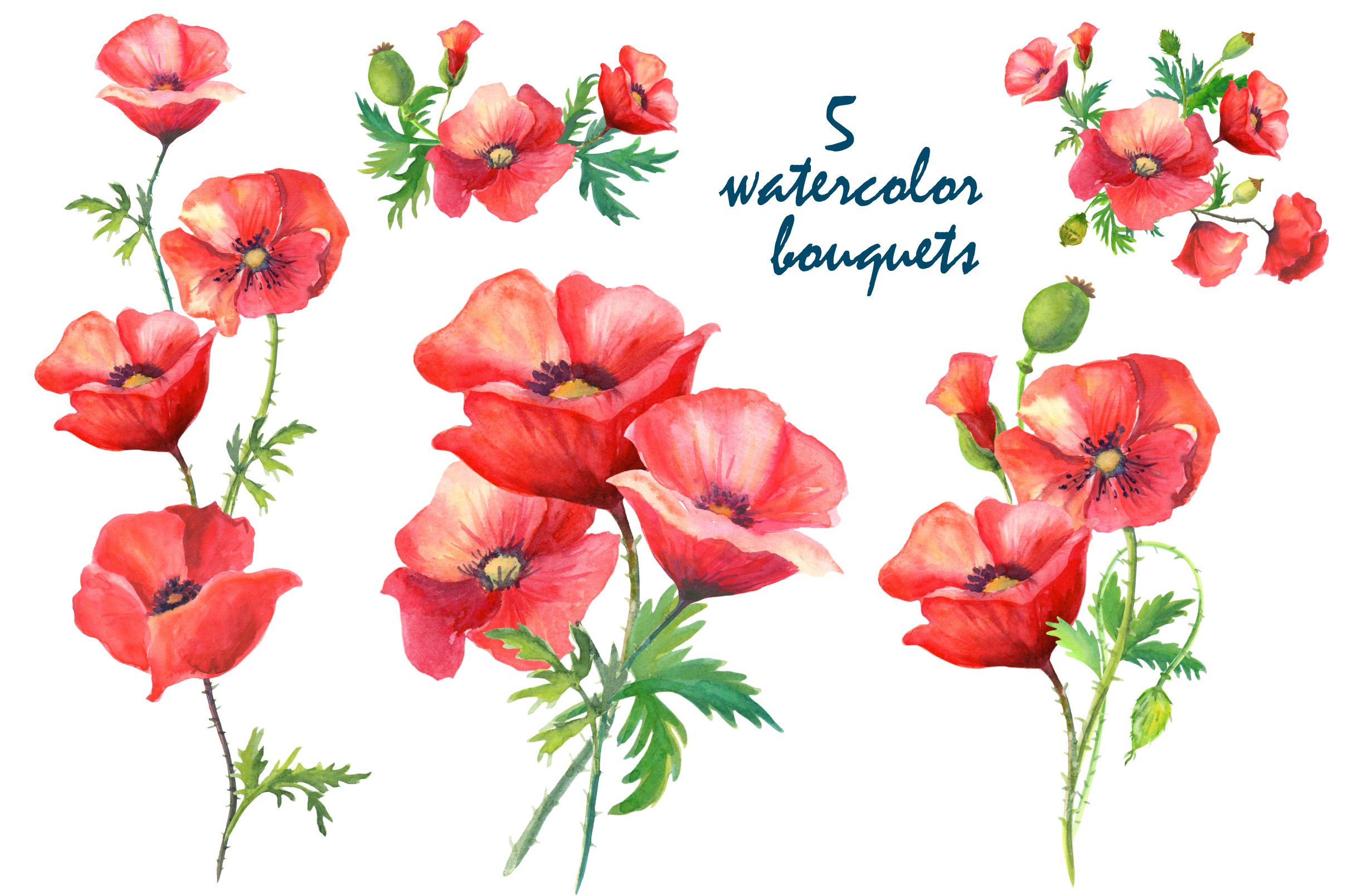 Watercolor poppies. example image 3