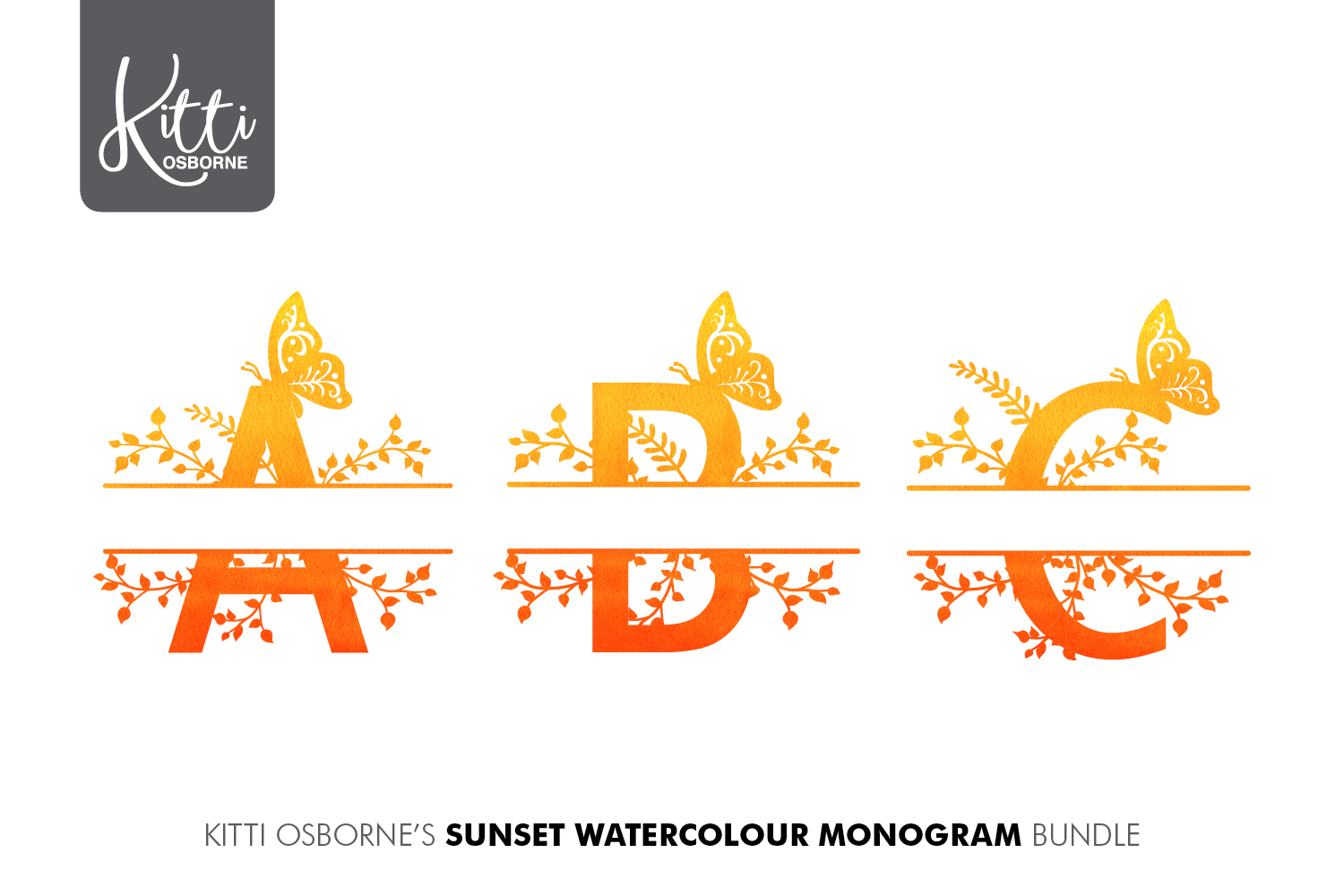 Alphabet Monogram PNG Bundle, Sunset Watercolour example image 6