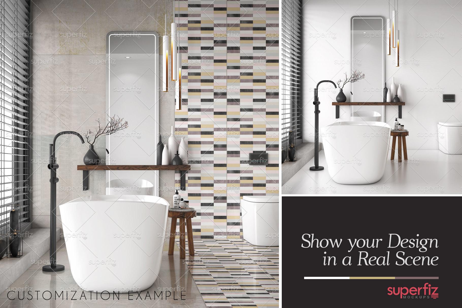 Floor and Wall PSD Mockup Bathroom Scene SM81 (258129 ...