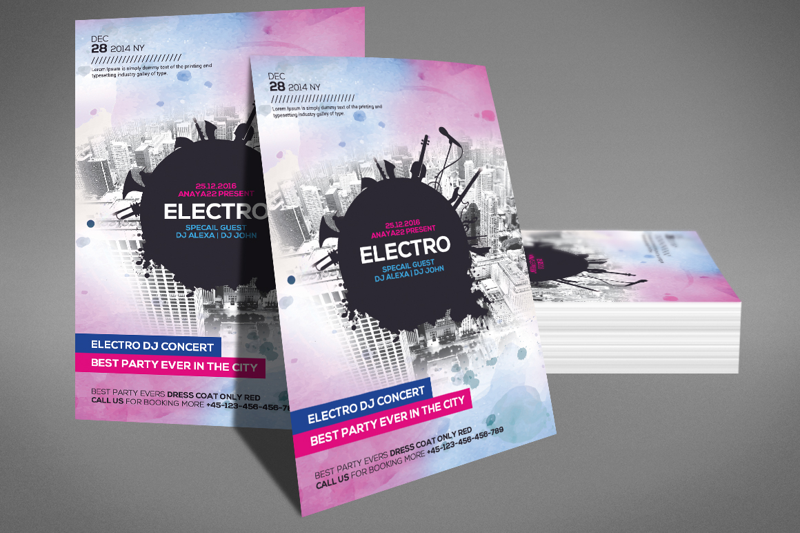 Electro Dj Flyer Template example image 3