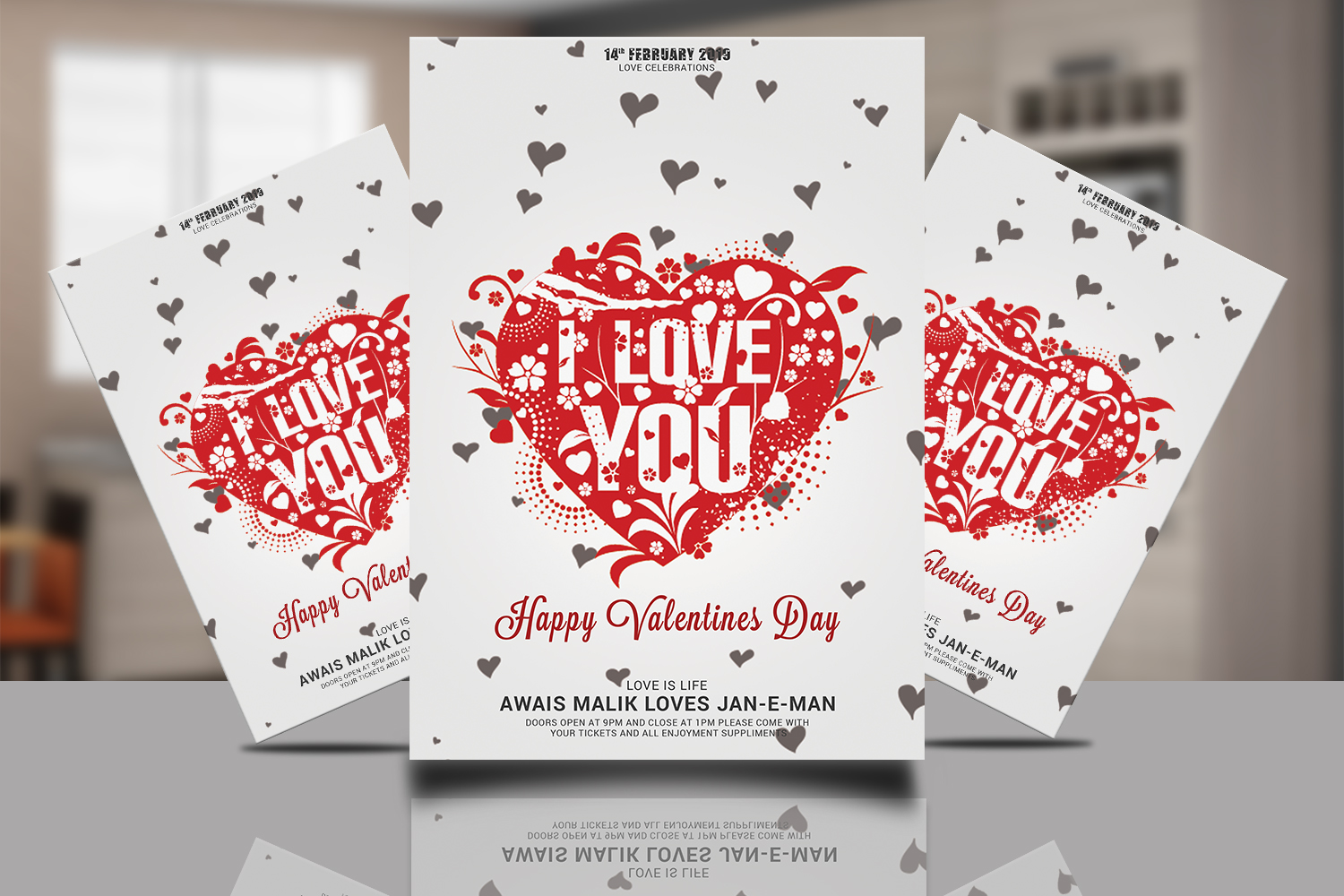 Valentines Psd Flyer example image 1
