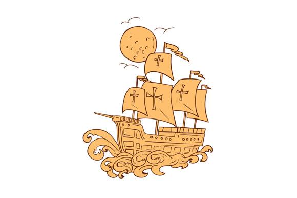 Caravel Sailing Ship Moon Drawing example image 1