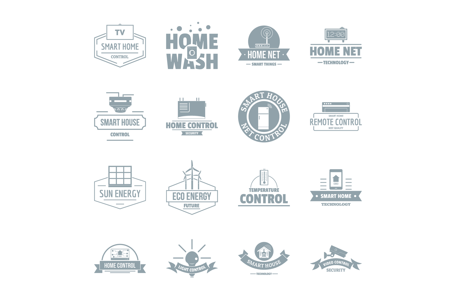 Smart home logo icons set, simple style example image 1