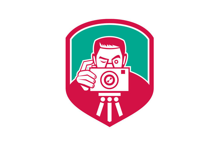 Photographer Shooting Camera Shield Retro example image 1