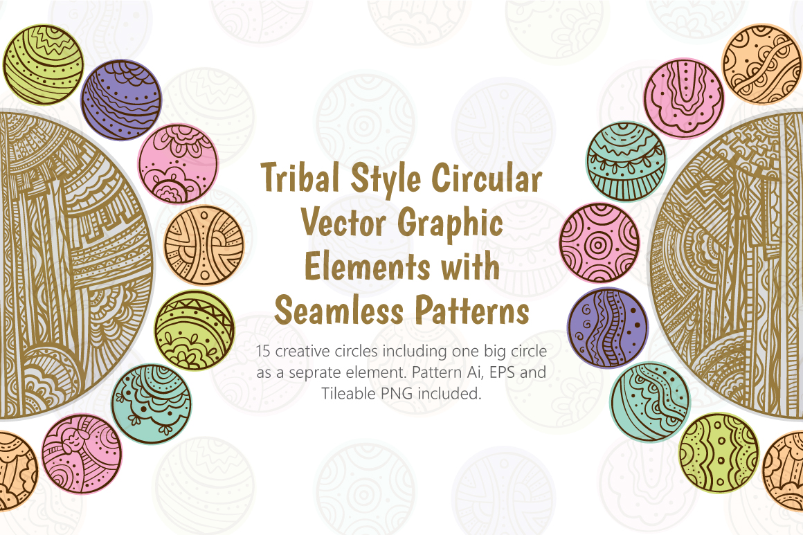 Tribal Graphic Circles  - Decorative Seamless Background example image 1