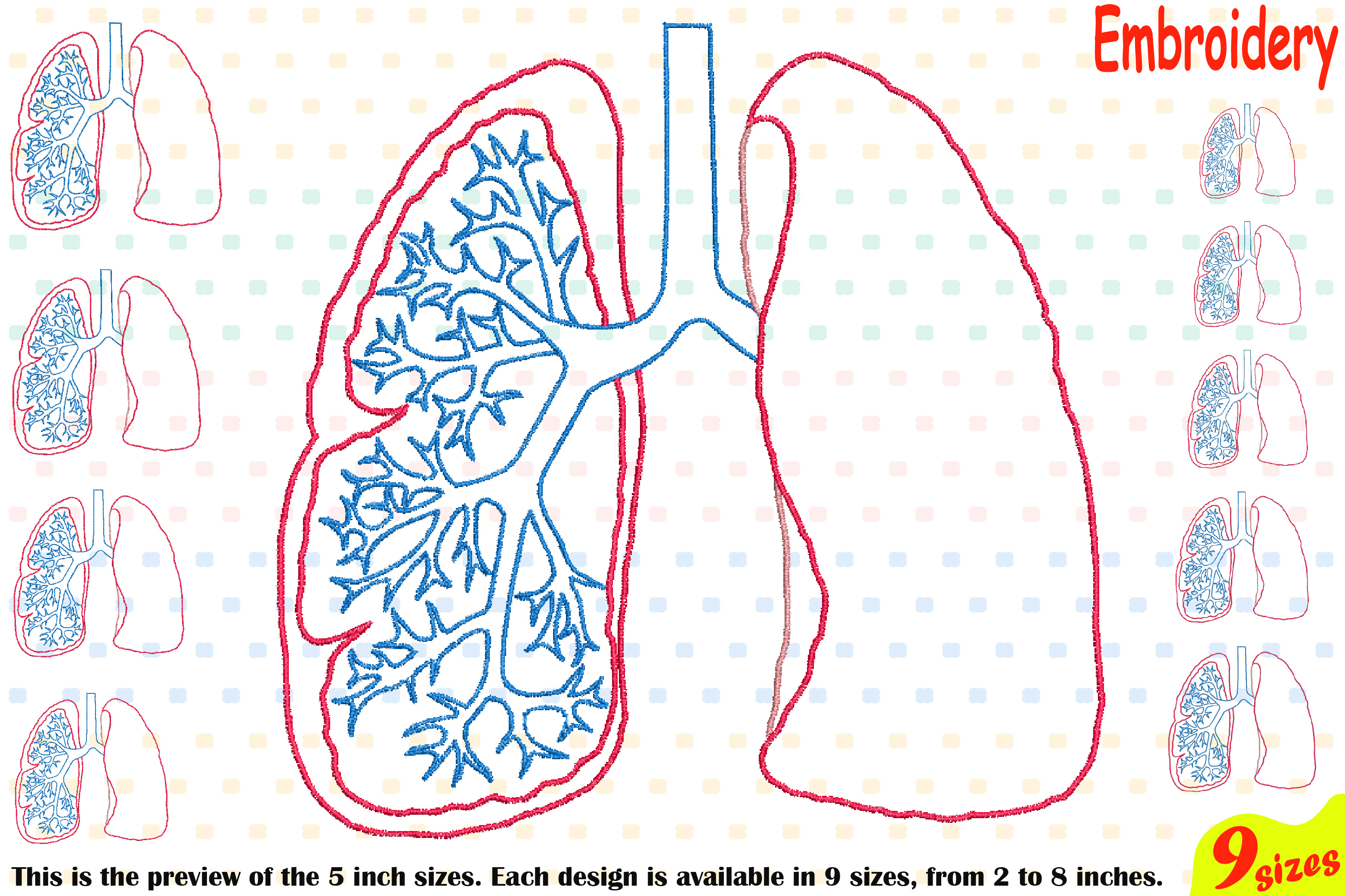 Lungs Outline Embroidery Design Machine Instant Download Commercial Use digital science school hospital biology Medic Organs Anatomy 203b example image 1