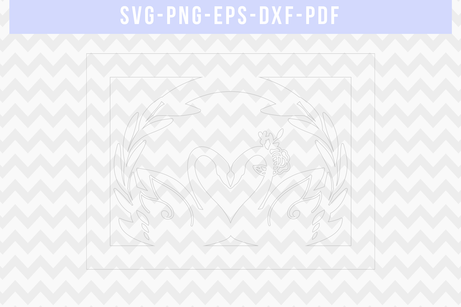 Wedding Swan Frame Papercut Template, Couple SVG, DXF, PDF example image 5