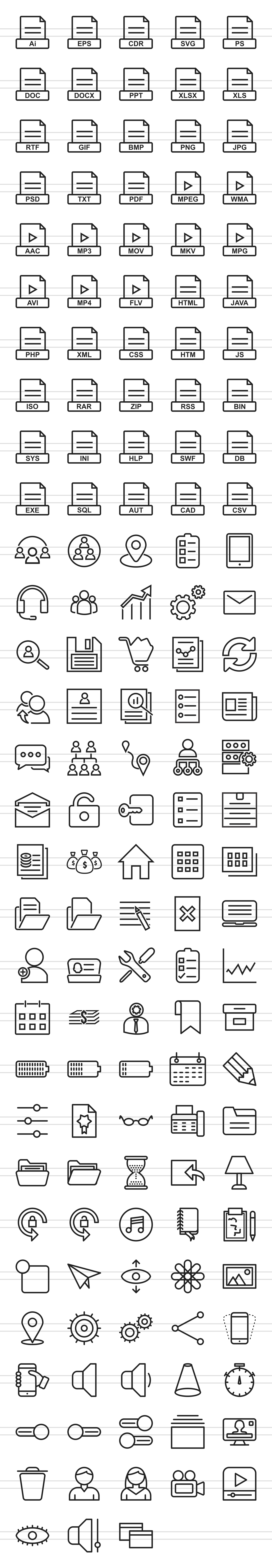 148 Files & Folders Line Icons example image 2