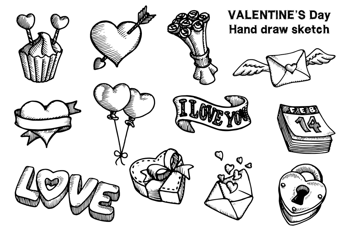 Valentine's Day Hand Draw example image 2