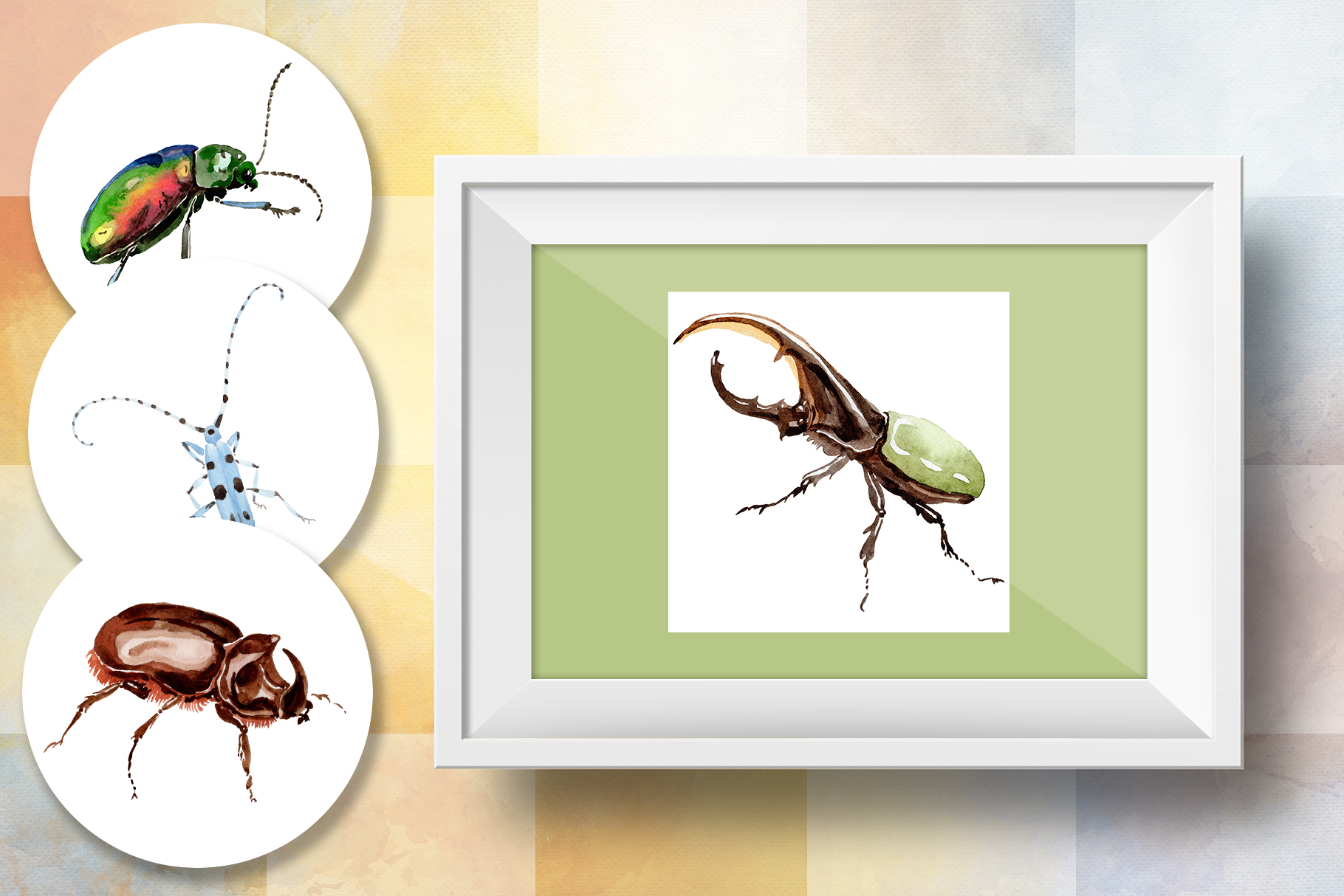 Beetles JPG watercolor set  example image 8