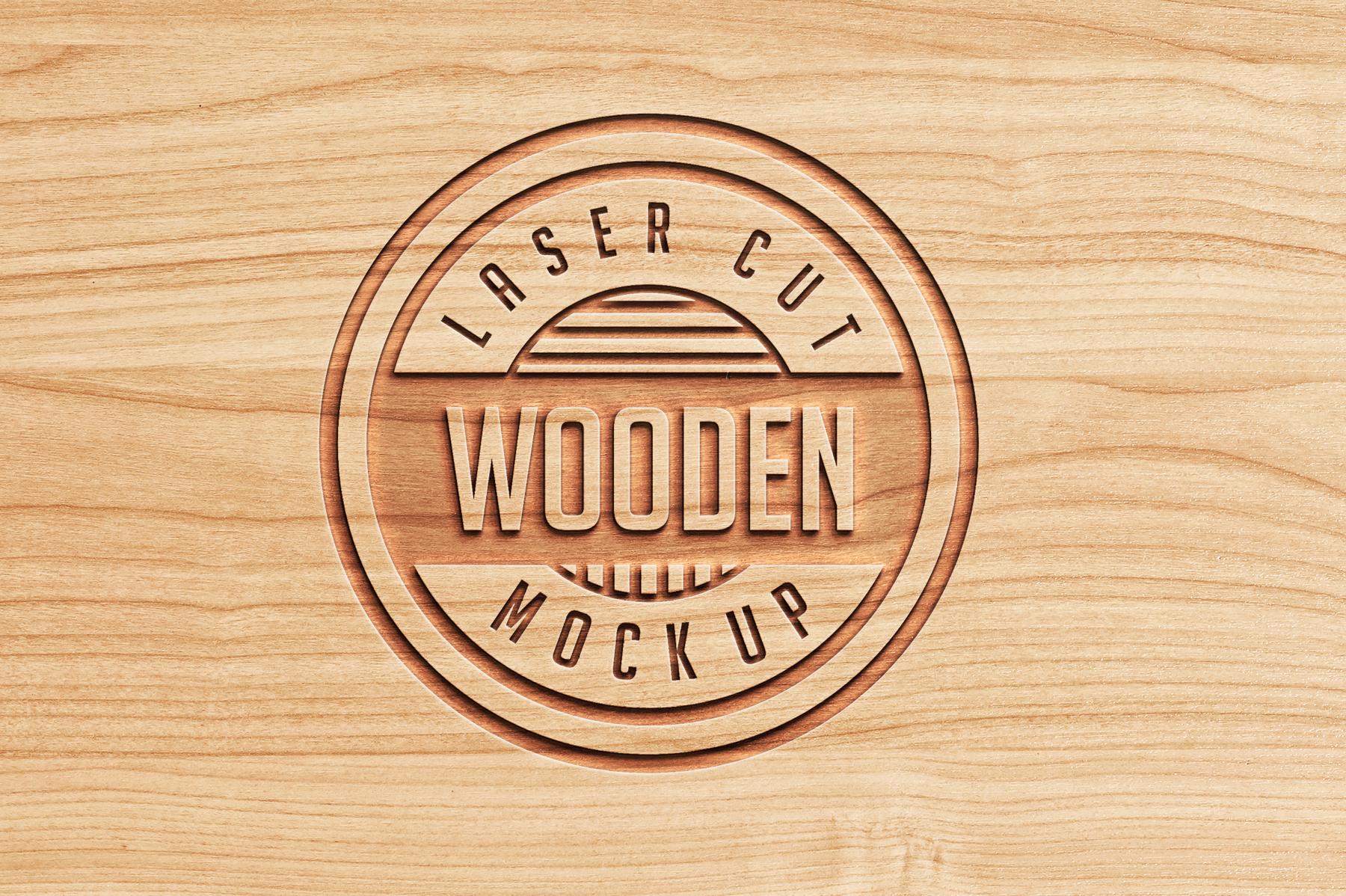 Logo Mock Ups  Wood Set example image 4