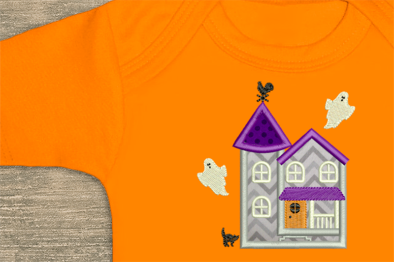 Halloween Haunted House Applique Embroidery Design File example image 3