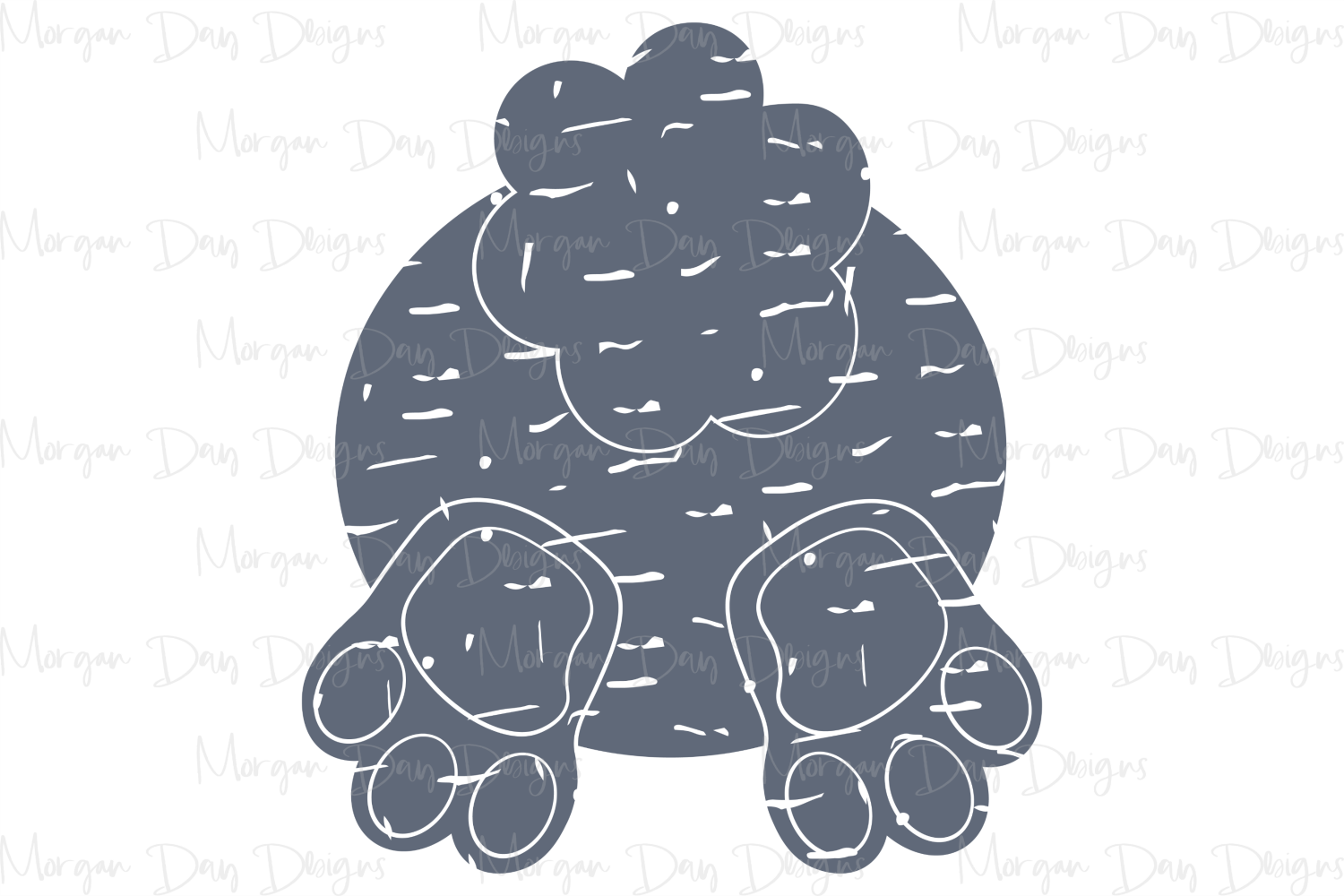 Grunge Bunny Butt - Easter SVG, DXF, AI, EPS, PNG, JPEG example image 3