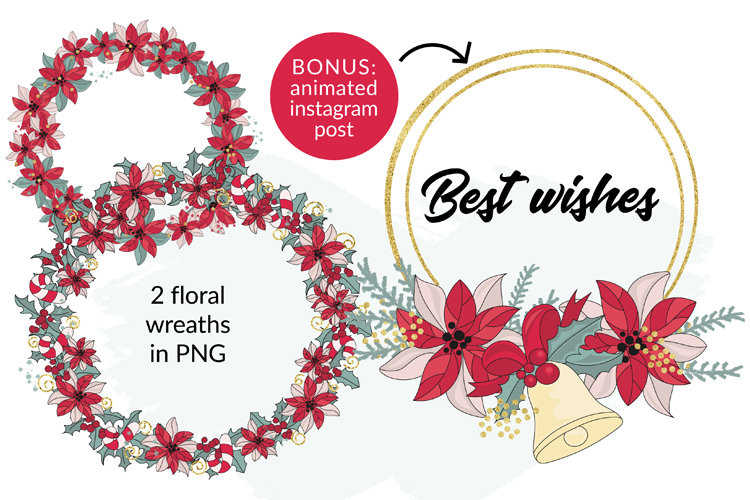 BEST WISHES Christmas Vector Illustration Pattern Animation example image 9