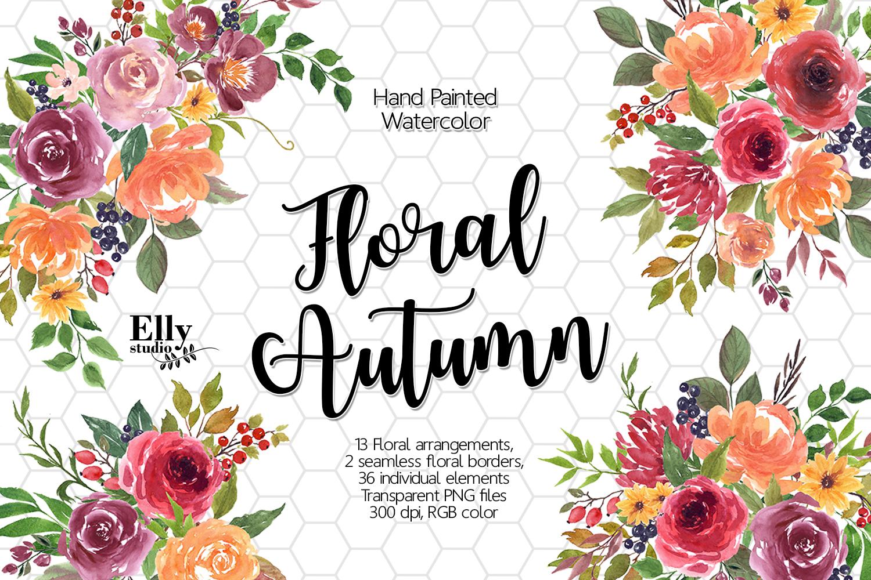 Watercolor Floral Autumn Clip Art