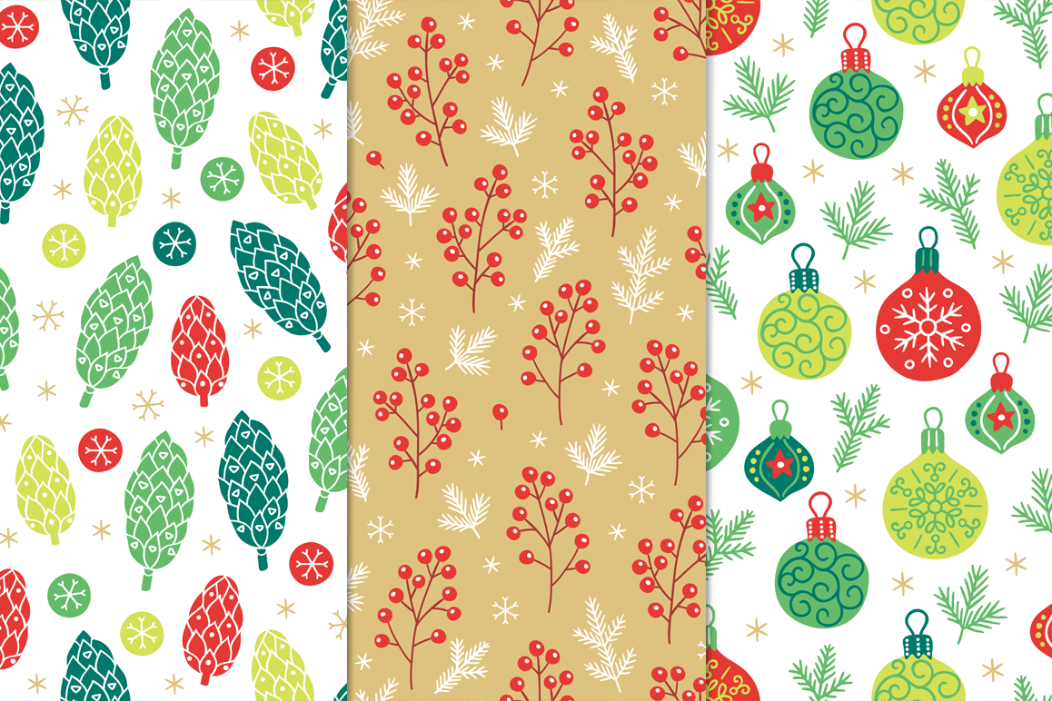 12 Christmas Seamless Patterns example image 3