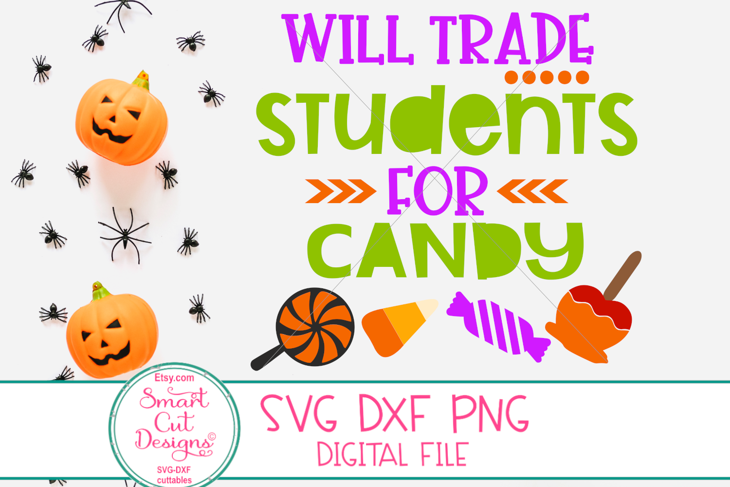 Halloween Teacher SVG, Will Trade Students For Candy SVG,DXF example image 2