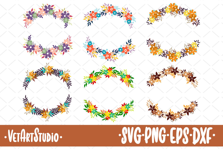 6 Round floral frames, flower round wreaths SVG, set of dood example image 1
